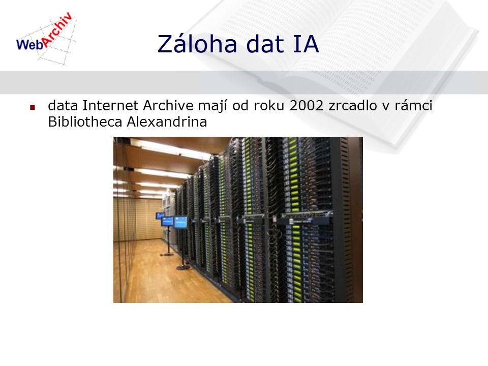 Záloha dat IA data Internet Archive mají od roku 2002 zrcadlo v rámci Bibliotheca Alexandrina