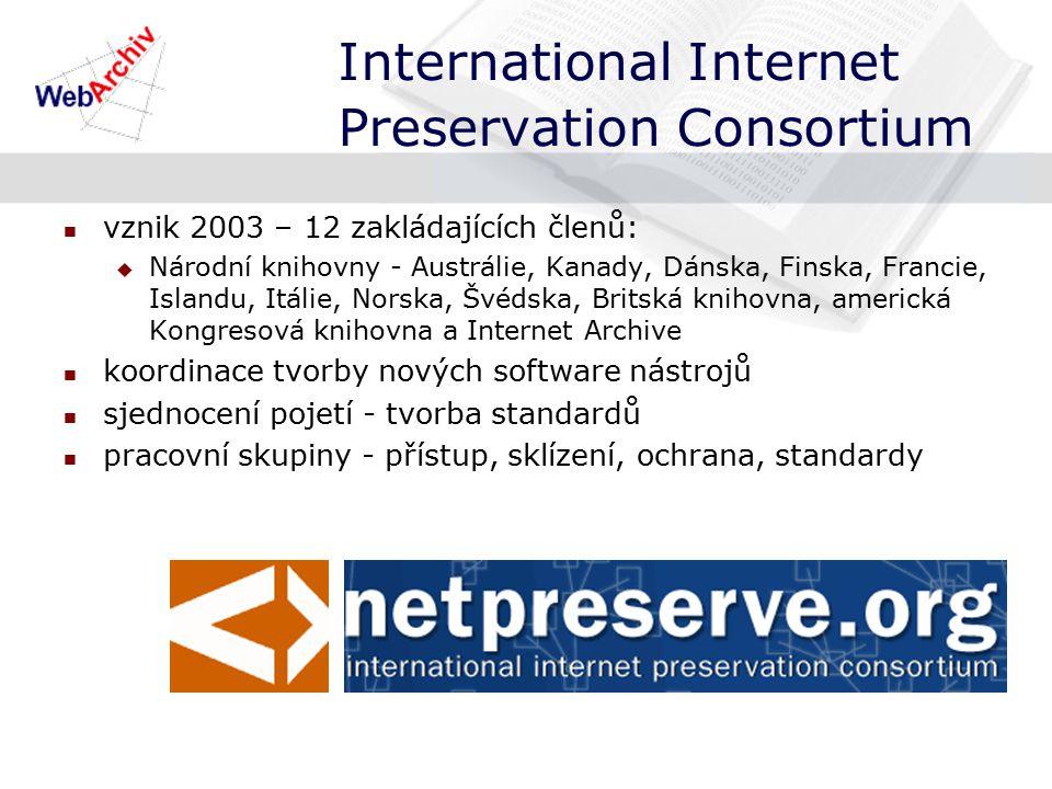 International Internet Preservation Consortium vznik 2003 – 12 zakládajících členů:  Národní knihovny - Austrálie, Kanady, Dánska, Finska, Francie, Islandu, Itálie, Norska, Švédska, Britská knihovna, americká Kongresová knihovna a Internet Archive koordinace tvorby nových software nástrojů sjednocení pojetí - tvorba standardů pracovní skupiny - přístup, sklízení, ochrana, standardy