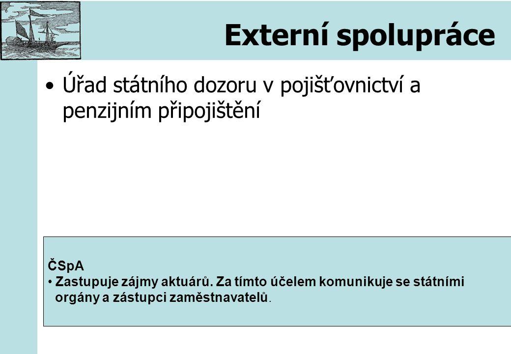 Externí spolupráce Úřad státního dozoru v pojišťovnictví a penzijním připojištění ČSpA Zastupuje zájmy aktuárů.
