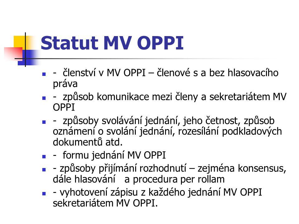 Statut MV OPPI - členství v MV OPPI – členové s a bez hlasovacího práva - způsob komunikace mezi členy a sekretariátem MV OPPI - způsoby svolávání jed