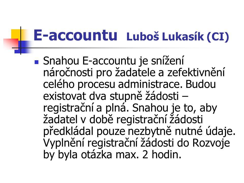 E-accountu Luboš Lukasík (CI) Snahou E-accountu je snížení náročnosti pro žadatele a zefektivnění celého procesu administrace. Budou existovat dva stu