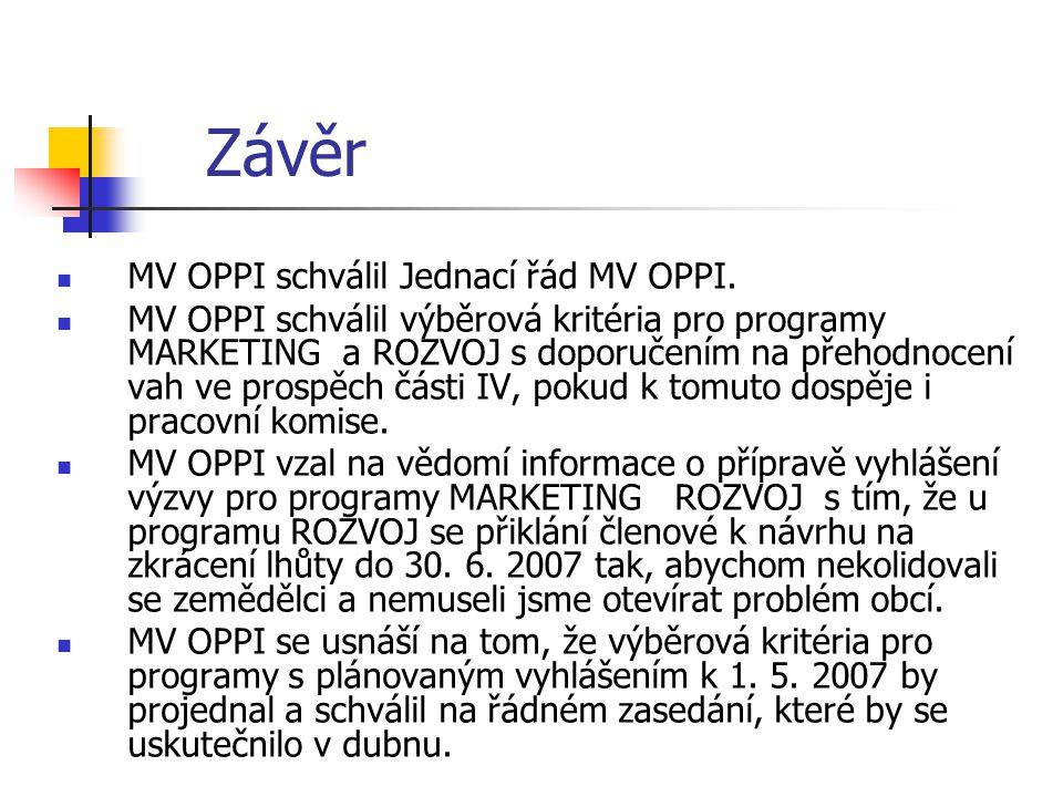 Závěr MV OPPI schválil Jednací řád MV OPPI. MV OPPI schválil výběrová kritéria pro programy MARKETING a ROZVOJ s doporučením na přehodnocení vah ve pr