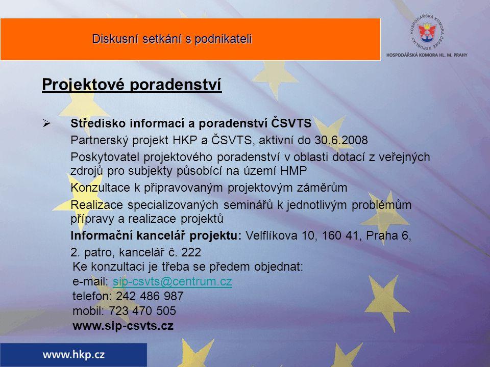 Projektové poradenství  Středisko informací a poradenství ČSVTS Partnerský projekt HKP a ČSVTS, aktivní do 30.6.2008 Poskytovatel projektového poradenství v oblasti dotací z veřejných zdrojů pro subjekty působící na území HMP Konzultace k připravovaným projektovým záměrům Realizace specializovaných seminářů k jednotlivým problémům přípravy a realizace projektů Informační kancelář projektu: Velflíkova 10, 160 41, Praha 6, 2.