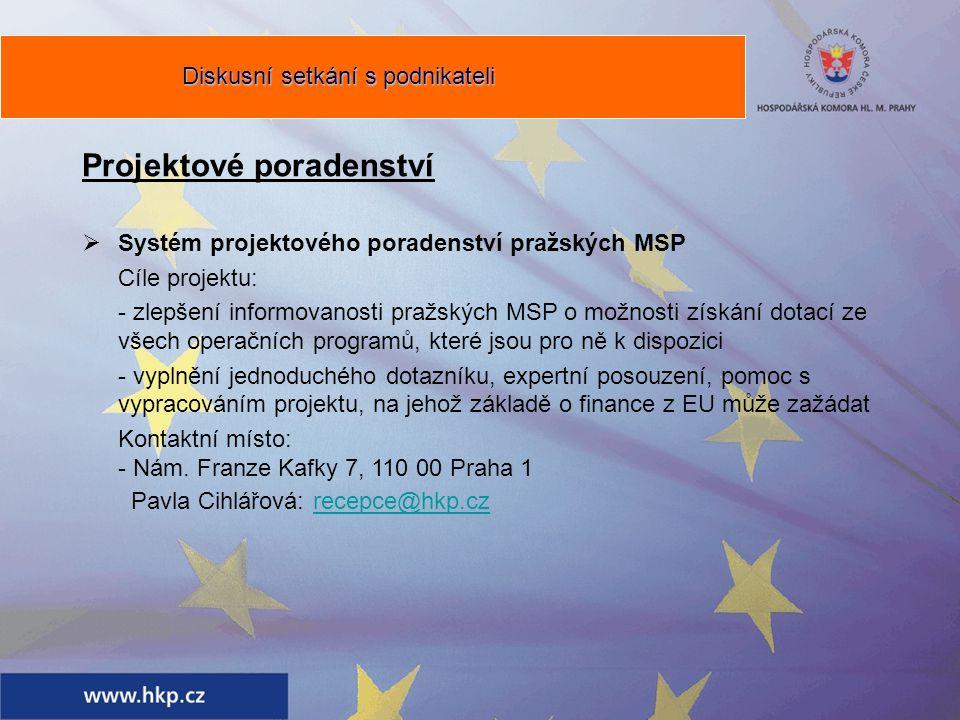 Projektové poradenství  Systém projektového poradenství pražských MSP Cíle projektu: - zlepšení informovanosti pražských MSP o možnosti získání dotací ze všech operačních programů, které jsou pro ně k dispozici - vyplnění jednoduchého dotazníku, expertní posouzení, pomoc s vypracováním projektu, na jehož základě o finance z EU může zažádat Kontaktní místo: - Nám.