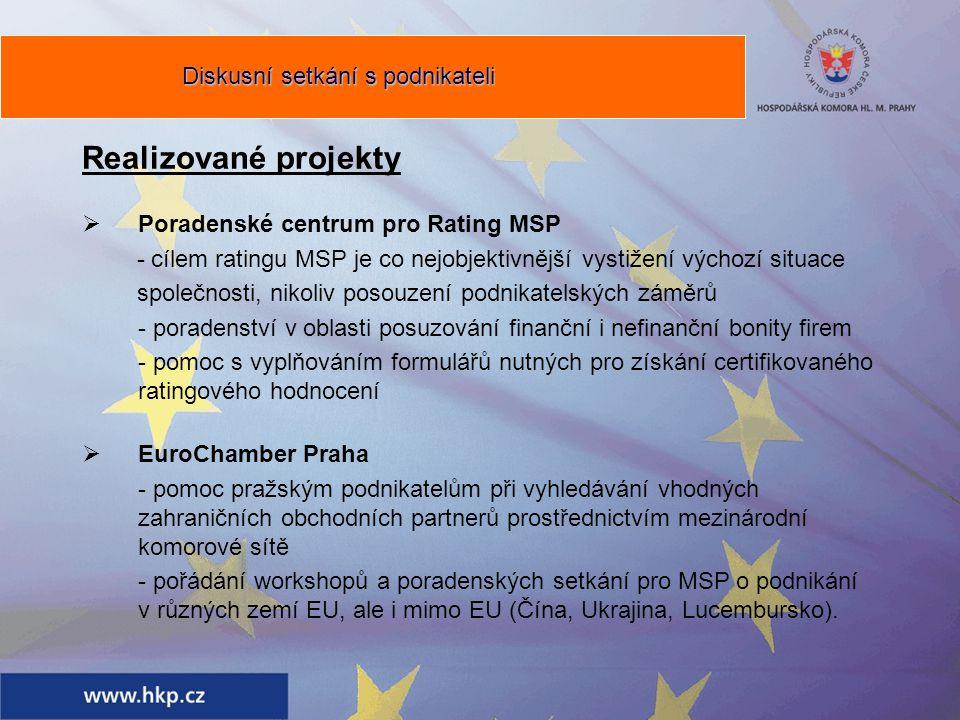 Realizované projekty  Poradenské centrum pro Rating MSP - cílem ratingu MSP je co nejobjektivnější vystižení výchozí situace společnosti, nikoliv posouzení podnikatelských záměrů - poradenství v oblasti posuzování finanční i nefinanční bonity firem - pomoc s vyplňováním formulářů nutných pro získání certifikovaného ratingového hodnocení  EuroChamber Praha - pomoc pražským podnikatelům při vyhledávání vhodných zahraničních obchodních partnerů prostřednictvím mezinárodní komorové sítě - pořádání workshopů a poradenských setkání pro MSP o podnikání v různých zemí EU, ale i mimo EU (Čína, Ukrajina, Lucembursko).