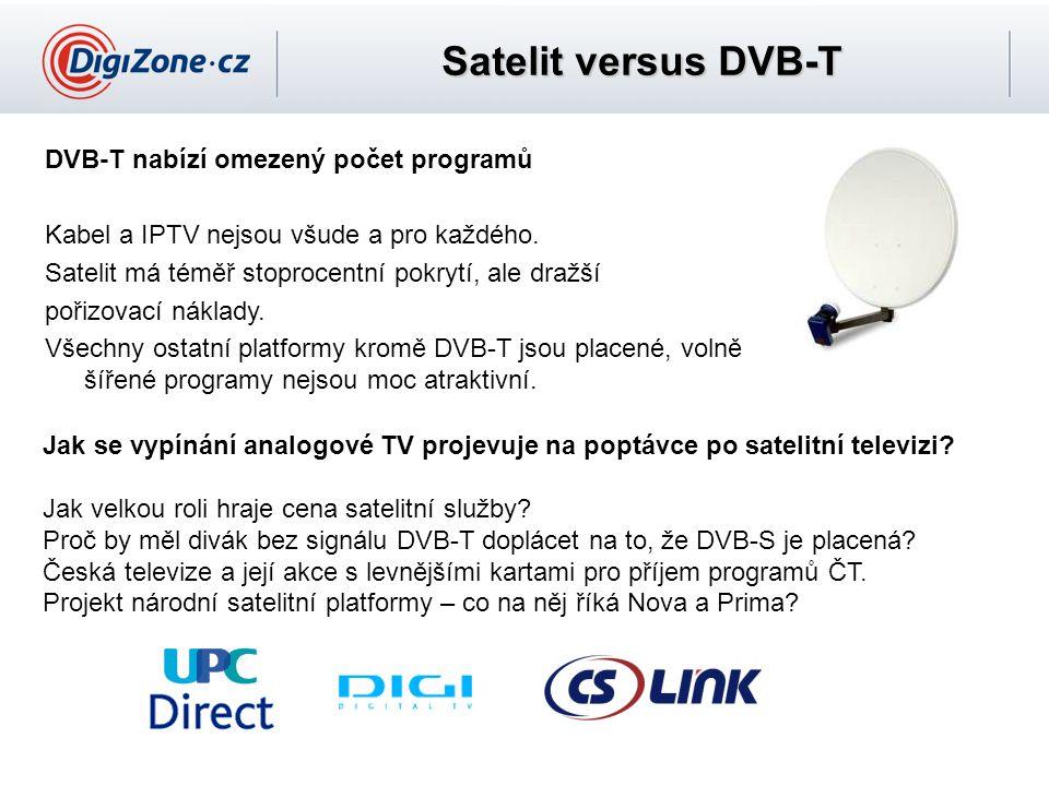 Satelit versus DVB-T DVB-T nabízí omezený počet programů Kabel a IPTV nejsou všude a pro každého. Satelit má téměř stoprocentní pokrytí, ale dražší po