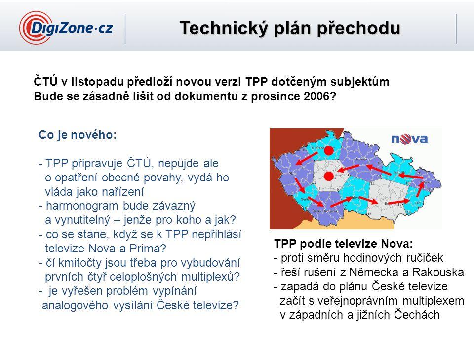 Technický plán přechodu ČTÚ v listopadu předloží novou verzi TPP dotčeným subjektům Bude se zásadně lišit od dokumentu z prosince 2006? TPP podle tele
