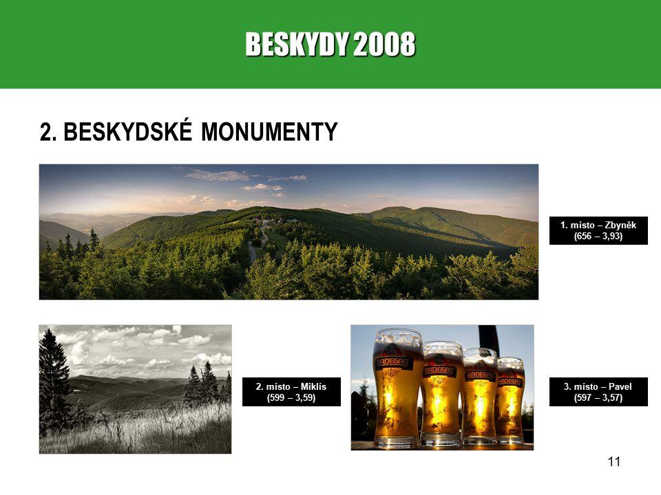 11 BESKYDY 2008 2. BESKYDSKÉ MONUMENTY 1. místo – Zbyněk (656 – 3,93) 2.