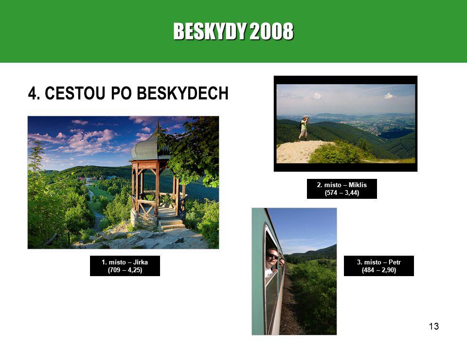 13 BESKYDY 2008 4. CESTOU PO BESKYDECH 1. místo – Jirka (709 – 4,25) 2.