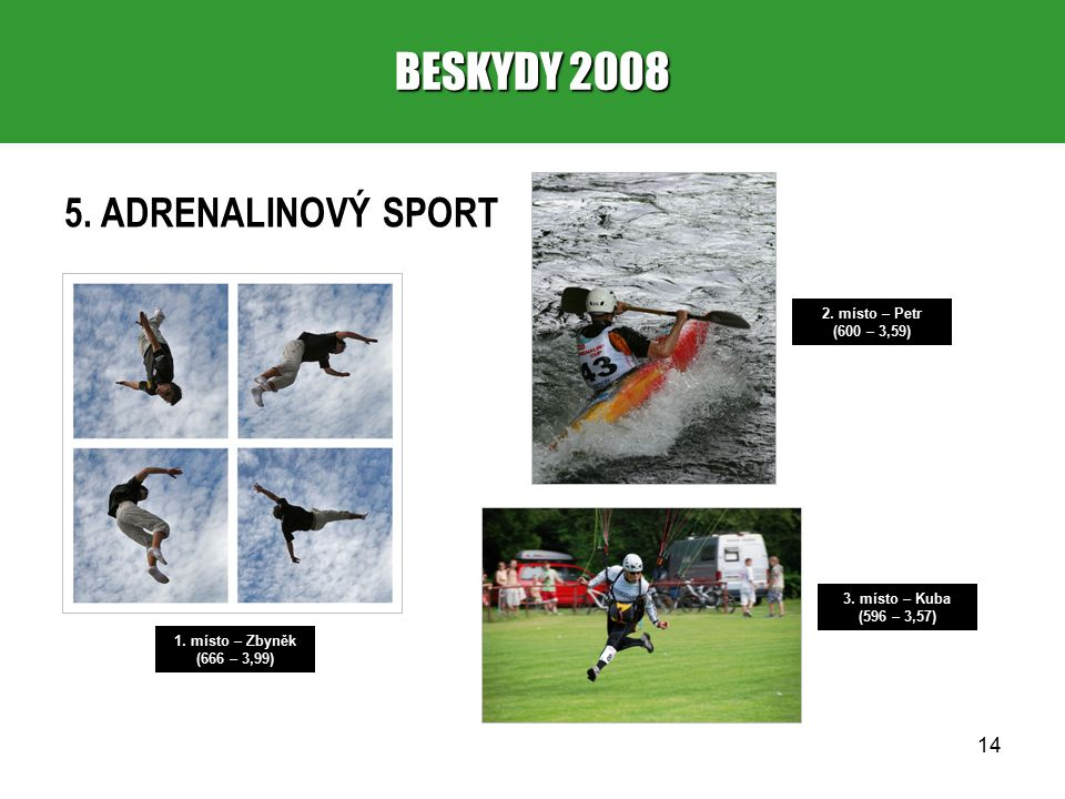 14 BESKYDY 2008 5. ADRENALINOVÝ SPORT 1. místo – Zbyněk (666 – 3,99) 2.