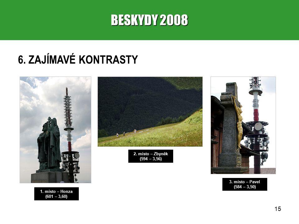 15 BESKYDY 2008 6. ZAJÍMAVÉ KONTRASTY 1. místo – Honza (601 – 3,60) 2.