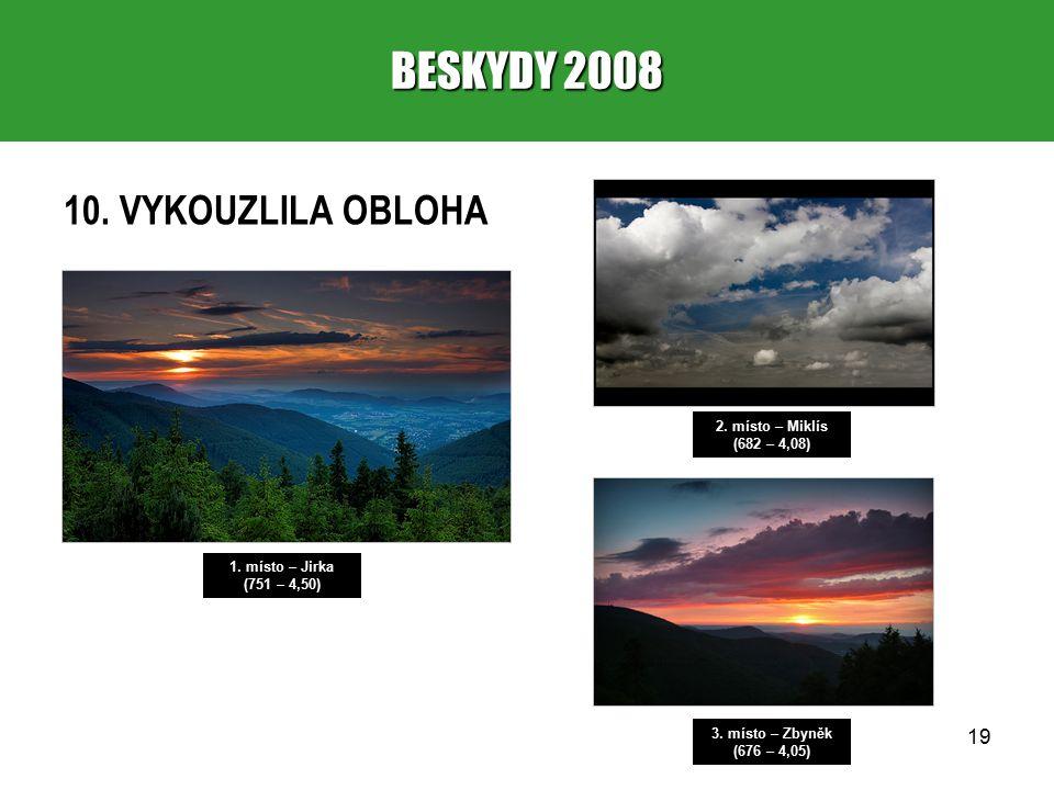 19 BESKYDY 2008 10. VYKOUZLILA OBLOHA 1. místo – Jirka (751 – 4,50) 2.