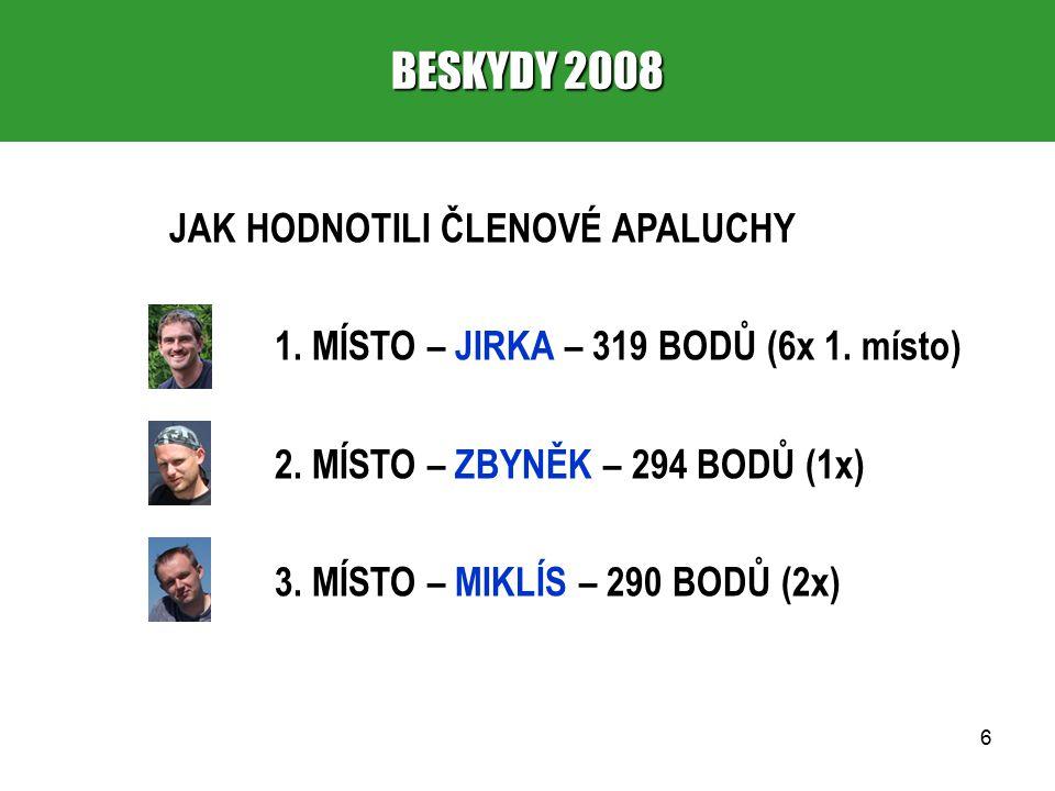 17 BESKYDY 2008 8.PASTVINY A LOUKY 1. místo – Zbyněk (706 – 4,23) 2.