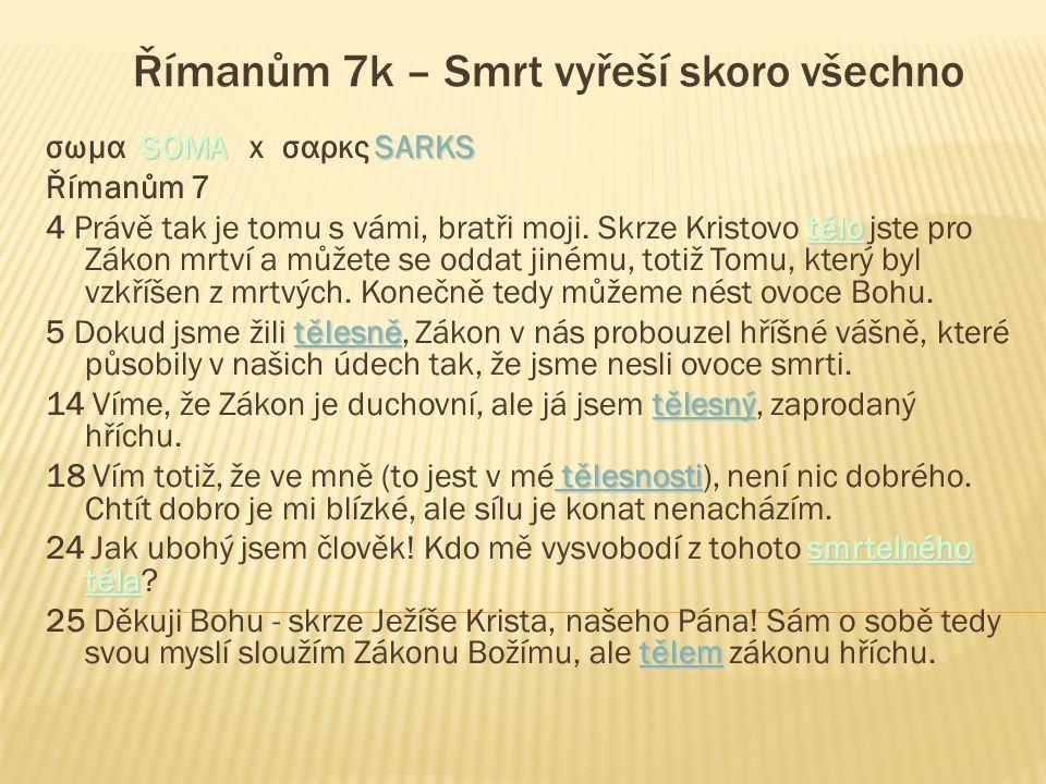 Římanům 7k – Smrt vyřeší skoro všechno SOMASARKS σωμα SOMA x σαρκς SARKS Římanům 7 tělo 4 Právě tak je tomu s vámi, bratři moji.