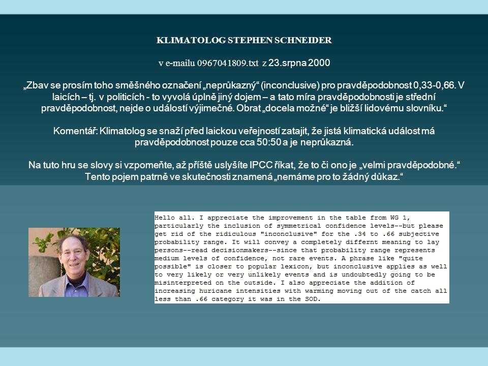 """KLIMATOLOG STEPHEN SCHNEIDER v e-mailu 0967041809.txt z 23.srpna 2000 """"Zbav se prosím toho směšného označení """"neprůkazný (inconclusive) pro pravděpodobnost 0,33-0,66."""