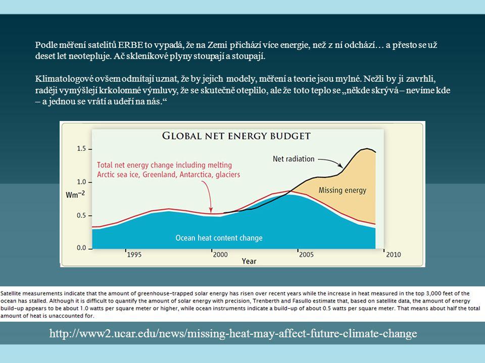 Podle měření satelitů ERBE to vypadá, že na Zemi přichází více energie, než z ní odchází… a přesto se už deset let neotepluje.