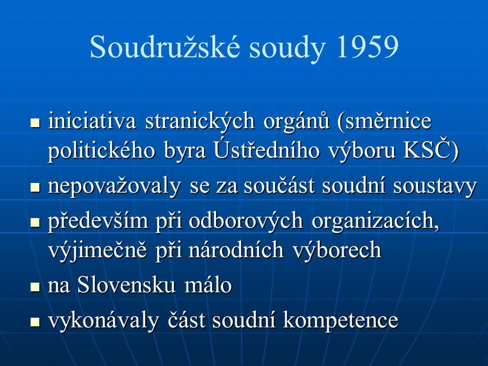 Soudružské soudy 1959 iniciativa stranických orgánů (směrnice politického byra Ústředního výboru KSČ) iniciativa stranických orgánů (směrnice politick