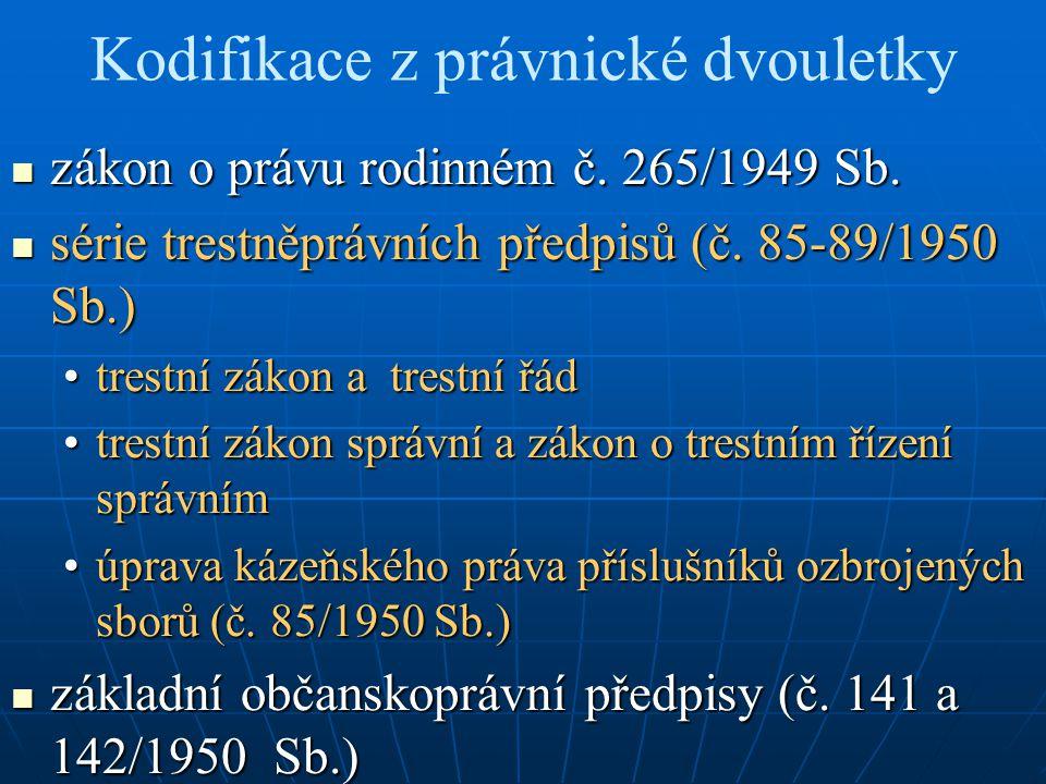 Kodifikace z právnické dvouletky zákon o právu rodinném č. 265/1949 Sb. zákon o právu rodinném č. 265/1949 Sb. série trestněprávních předpisů (č. 85-8