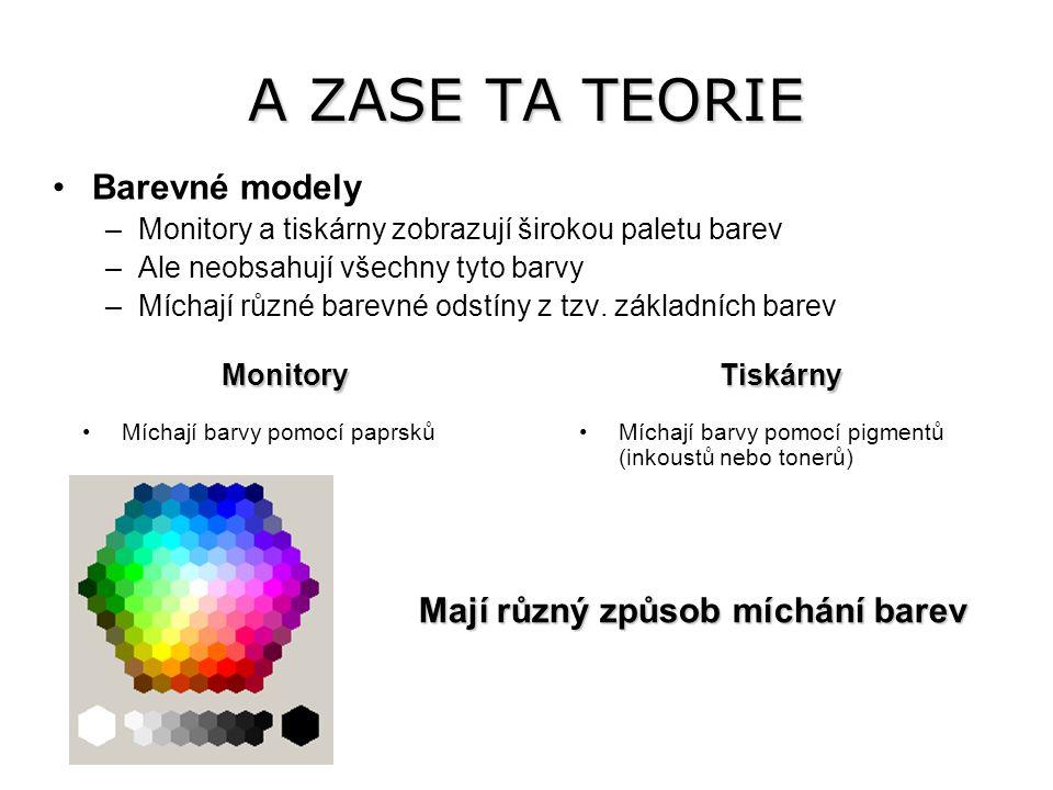 A ZASE TA TEORIE Barevné modely –Monitory a tiskárny zobrazují širokou paletu barev –Ale neobsahují všechny tyto barvy –Míchají různé barevné odstíny z tzv.