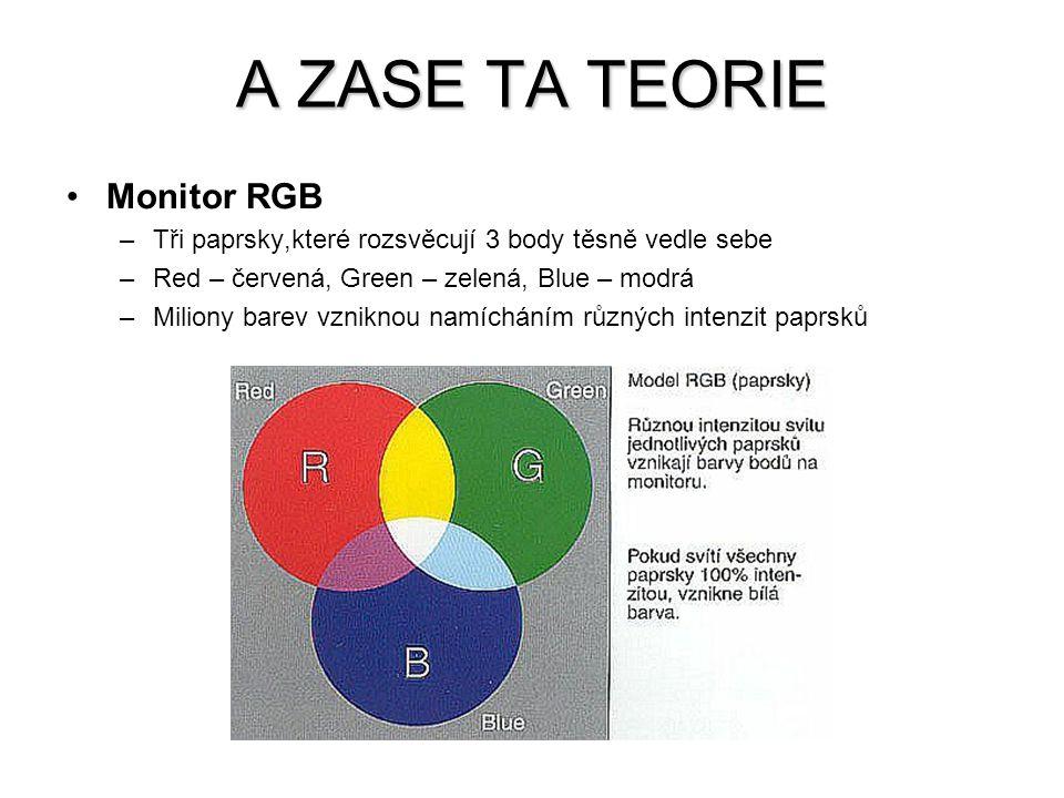 Tiskárna CMYK –Výsledná barva se míchá ze tří inkoustových barev –Cyan – azurová, Magenta – purpurová, Yellow – žlutá –Černá barva by teoreticky nemusela být, ale je nezbytná pro běžný tisk textů, proto by bylo nesmyslné tisknout černý text soutiskem tří barev –Tiskárny mají dvě cartridge, barevnou a černou A ZASE TA TEORIE