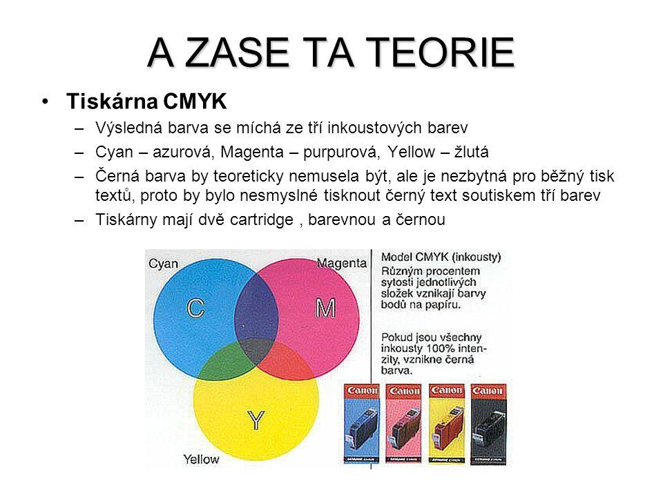 Tiskárna CMYK –Výsledná barva se míchá ze tří inkoustových barev –Cyan – azurová, Magenta – purpurová, Yellow – žlutá –Černá barva by teoreticky nemus