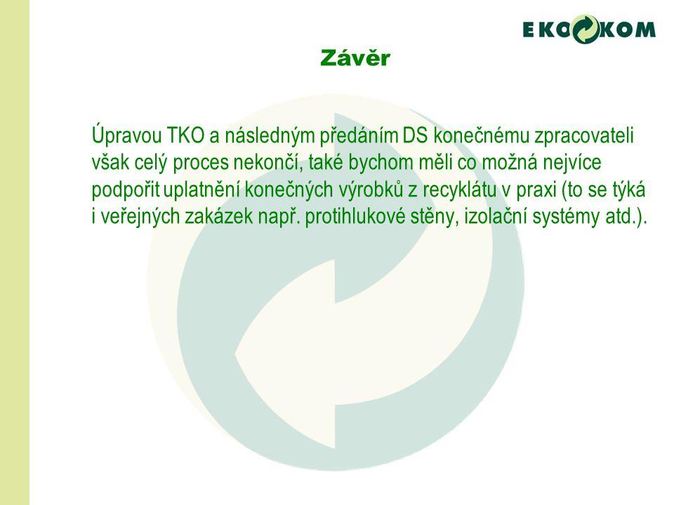 Úpravou TKO a následným předáním DS konečnému zpracovateli však celý proces nekončí, také bychom měli co možná nejvíce podpořit uplatnění konečných výrobků z recyklátu v praxi (to se týká i veřejných zakázek např.