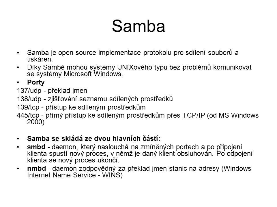 Samba Samba je open source implementace protokolu pro sdílení souborů a tiskáren. Díky Sambě mohou systémy UNIXového typu bez problémů komunikovat se