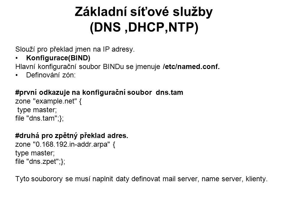 Základní síťové služby (DNS,DHCP,NTP) Slouží pro překlad jmen na IP adresy. Konfigurace(BIND) Hlavní konfigurační soubor BINDu se jmenuje /etc/named.c