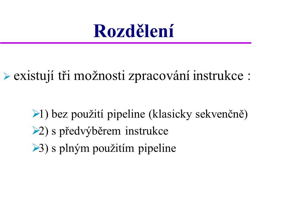 Rozdělení  existují tři možnosti zpracování instrukce :  1) bez použití pipeline (klasicky sekvenčně)  2) s předvýběrem instrukce  3) s plným použitím pipeline