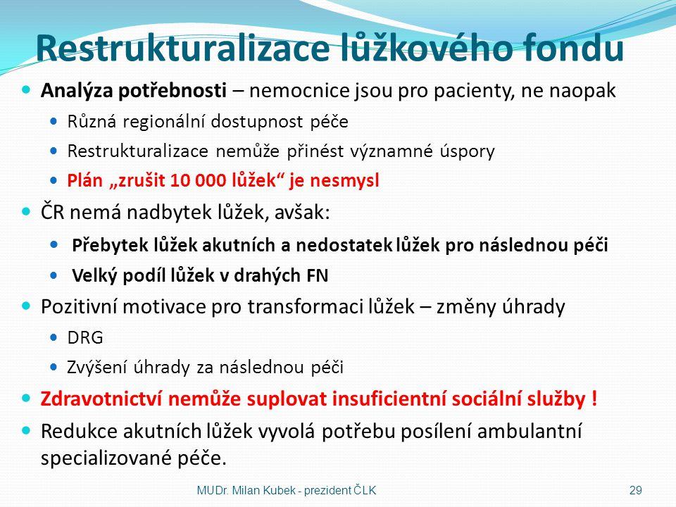 Restrukturalizace lůžkového fondu Analýza potřebnosti – nemocnice jsou pro pacienty, ne naopak Různá regionální dostupnost péče Restrukturalizace nemů