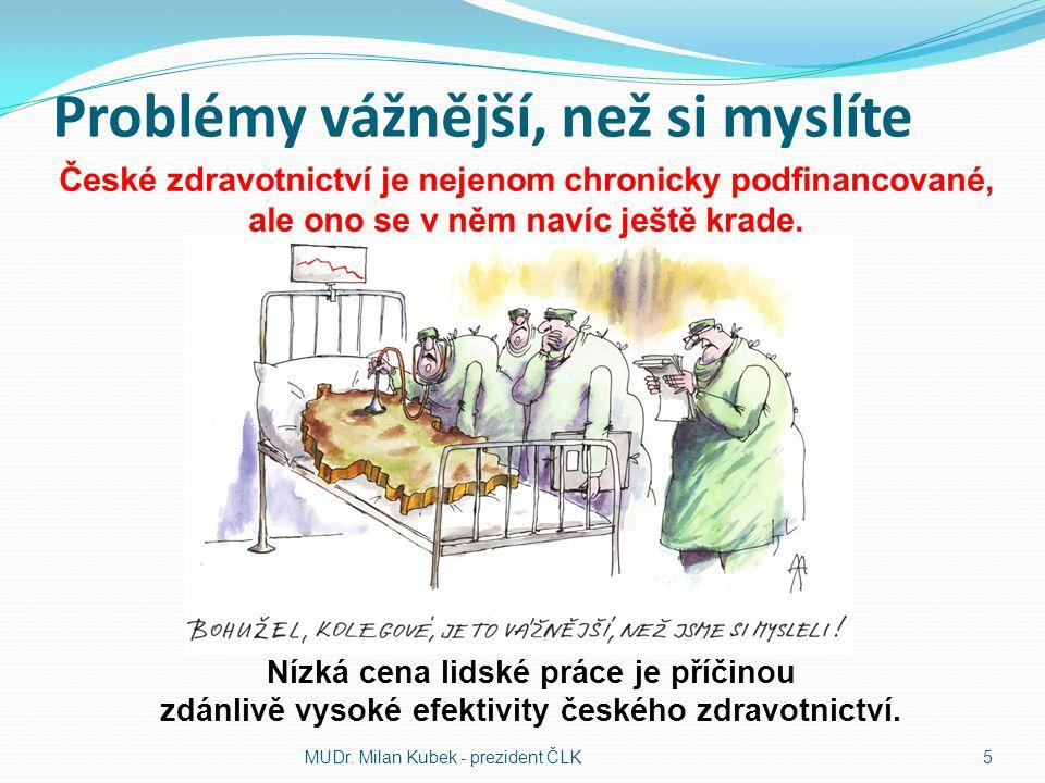 Problémy vážnější, než si myslíte MUDr. Milan Kubek - prezident ČLK 5 České zdravotnictví je nejenom chronicky podfinancované, ale ono se v něm navíc