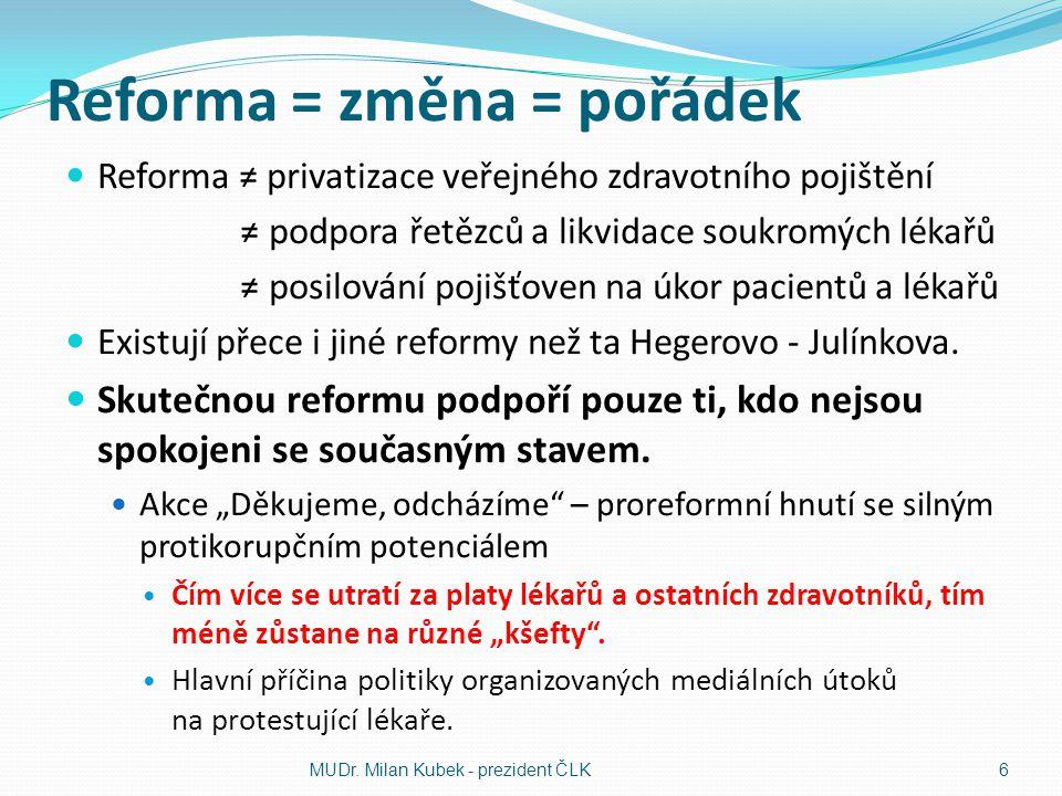Reforma = změna = pořádek Reforma ≠ privatizace veřejného zdravotního pojištění ≠ podpora řetězců a likvidace soukromých lékařů ≠ posilování pojišťove