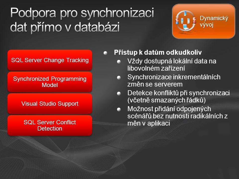Dynamický vývoj Přístup k datům odkudkoliv Vždy dostupná lokální data na libovolném zařízení Synchronizace inkrementálních změn se serverem Detekce konfliktů při synchronizaci (včetně smazaných řádků) Možnost přidání odpojených scénářů bez nutnosti radikálních z měn v aplikaci SQL Server Change Tracking Synchronized Programming Model Visual Studio Support SQL Server Conflict Detection