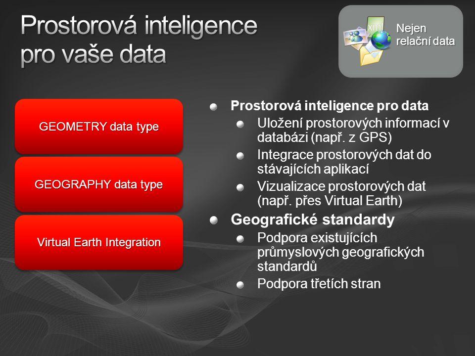Prostorová inteligence pro data Uložení prostorových informací v databázi (např.