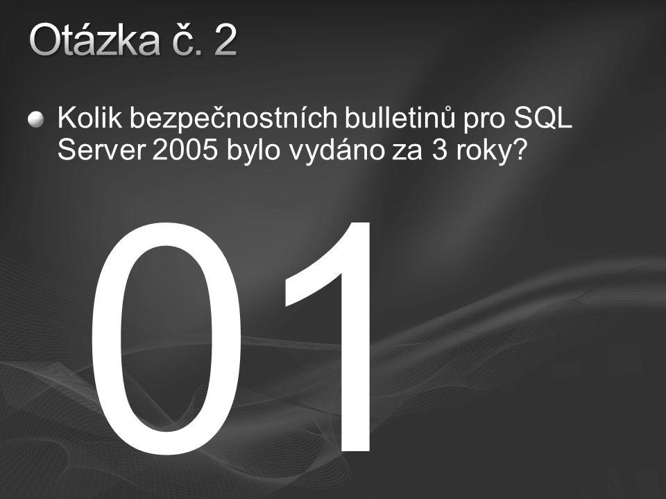 Kolik bezpečnostních bulletinů pro SQL Server 2005 bylo vydáno za 3 roky 01