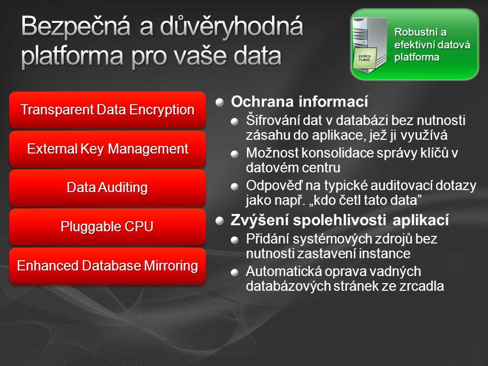 Transparent Data Encryption External Key Management Data Auditing Pluggable CPU Enhanced Database Mirroring Robustní a efektivní datová platforma Ochrana informací Šifrování dat v databázi bez nutnosti zásahu do aplikace, jež ji využívá Možnost konsolidace správy klíčů v datovém centru Odpověď na typické auditovací dotazy jako např.