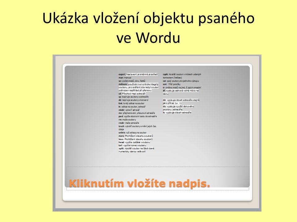 Ukázka vložení objektu psaného ve Wordu
