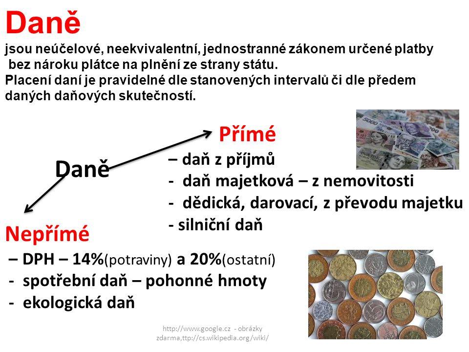 http://www.google.cz - obrázky zdarma,ttp://cs.wikipedia.org/wiki/ Daně Přímé – daň z příjmů - daň majetková – z nemovitosti - dědická, darovací, z př