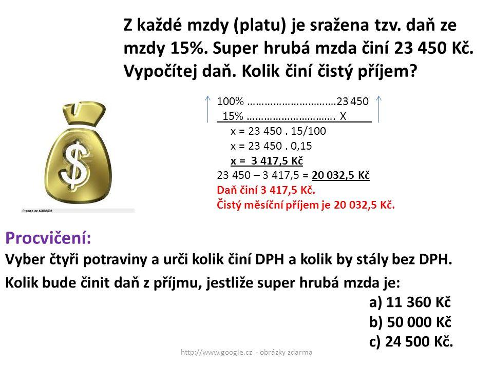 http://www.google.cz - obrázky zdarma Z každé mzdy (platu) je sražena tzv. daň ze mzdy 15%. Super hrubá mzda činí 23 450 Kč. Vypočítej daň. Kolik činí