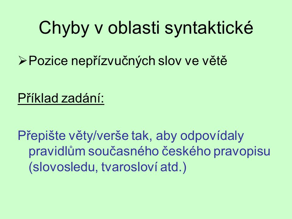 """Chyby v oblasti syntaktické """"..."""