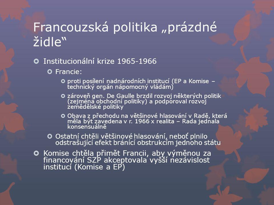 """Francouzská politika """"prázdné židle  Institucionální krize 1965-1966  Francie:  proti posílení nadnárodních institucí (EP a Komise – technický orgán nápomocný vládám)  zároveň gen."""