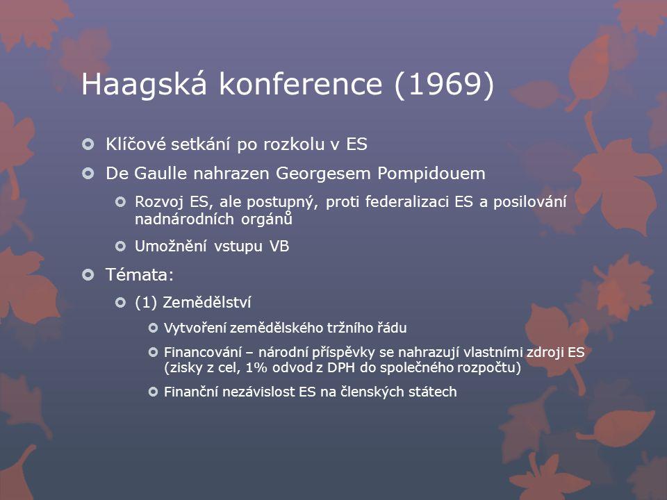 Haagská konference (1969)  Klíčové setkání po rozkolu v ES  De Gaulle nahrazen Georgesem Pompidouem  Rozvoj ES, ale postupný, proti federalizaci ES a posilování nadnárodních orgánů  Umožnění vstupu VB  Témata:  (1) Zemědělství  Vytvoření zemědělského tržního řádu  Financování – národní příspěvky se nahrazují vlastními zdroji ES (zisky z cel, 1% odvod z DPH do společného rozpočtu)  Finanční nezávislost ES na členských státech