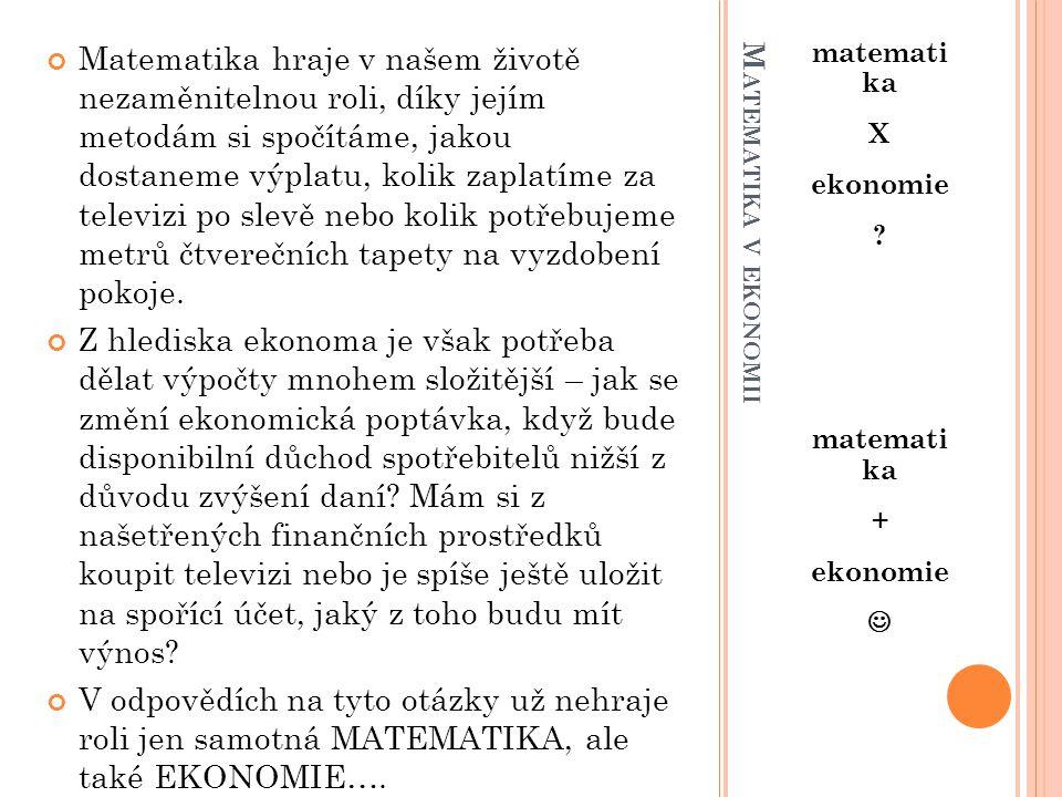 M ATEMATIKA V EKONOMII matemati ka X ekonomie .