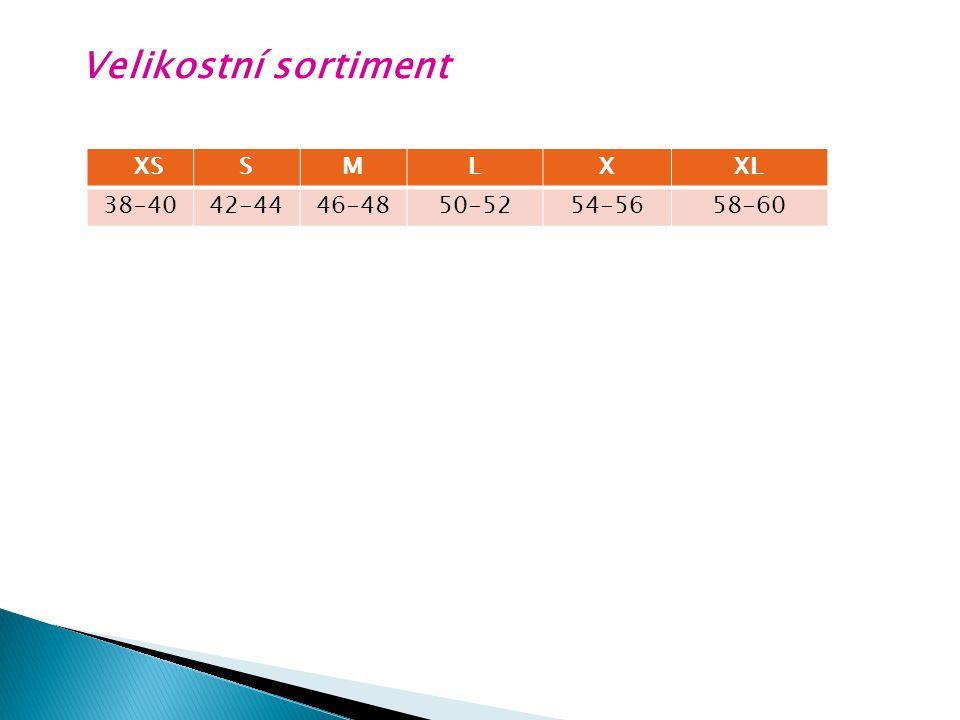 Velikostní sortiment XSSMLXXL 38-4042-4446-4850-5254-5658-60