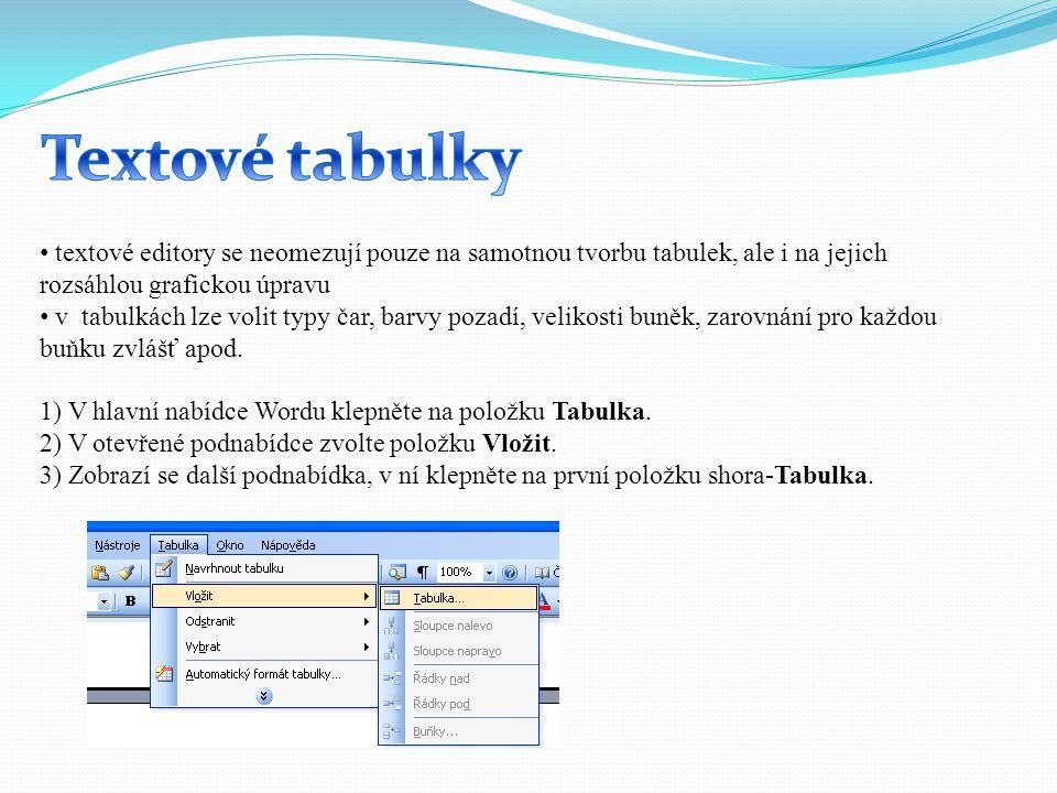 textové editory se neomezují pouze na samotnou tvorbu tabulek, ale i na jejich rozsáhlou grafickou úpravu v tabulkách lze volit typy čar, barvy pozadí