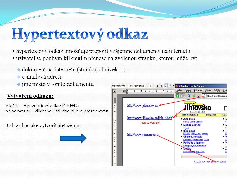 hypertextový odkaz umožňuje propojit vzájemně dokumenty na internetu uživatel se pouhým kliknutím přenese na zvolenou stránku, kterou může být dokumen