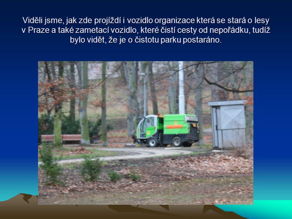 Viděli jsme, jak zde projíždí i vozidlo organizace která se stará o lesy v Praze a také zametací vozidlo, které čistí cesty od nepořádku, tudíž bylo vidět, že je o čistotu parku postaráno.