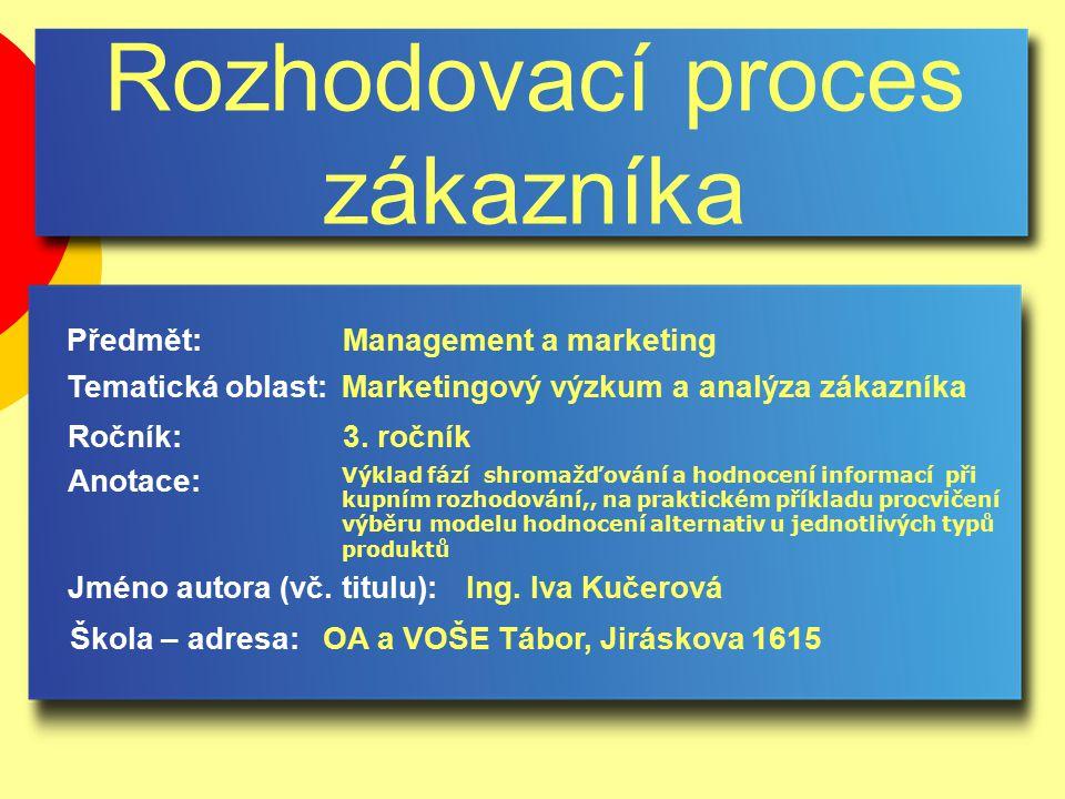 Rozhodovací proces zákazníka Jméno autora (vč.