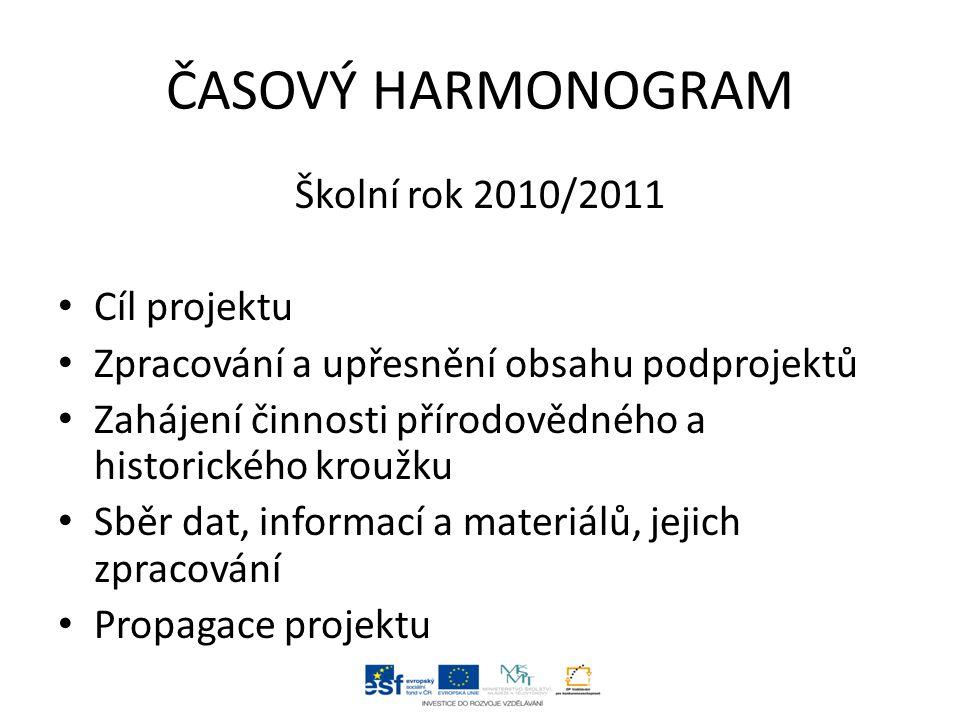 ČASOVÝ HARMONOGRAM Školní rok 2010/2011 Cíl projektu Zpracování a upřesnění obsahu podprojektů Zahájení činnosti přírodovědného a historického kroužku Sběr dat, informací a materiálů, jejich zpracování Propagace projektu