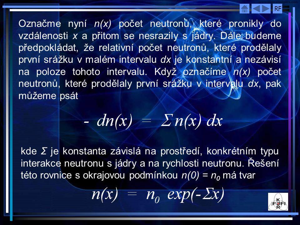 RF Označme nyní n(x) počet neutronů, které pronikly do vzdálenosti x a přitom se nesrazily s jádry. Dále budeme předpokládat, že relativní počet neutr